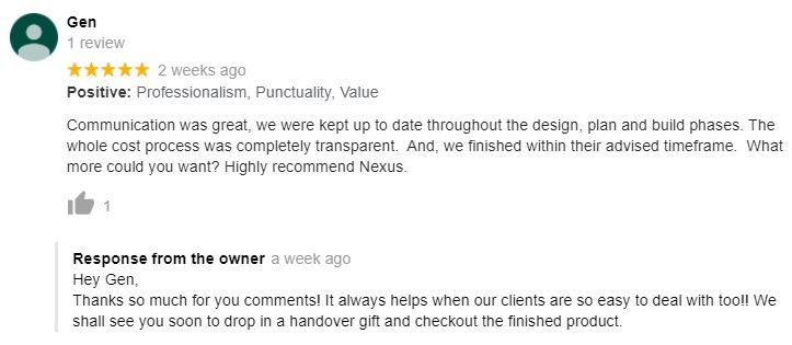 Perth renovations company Nexus' positive Google review