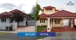 The before and after image of a second storey extension Perth